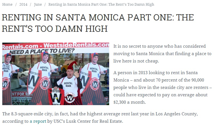 Renting in Santa Monica Part One-The Rent's Too Damn High